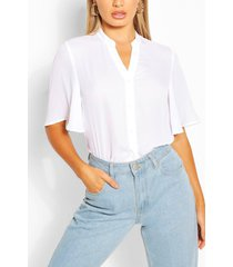angel sleeve button down woven top, white