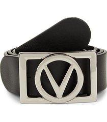 v-logo leather belt