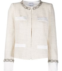 blumarine stud-embellished tweed jacket - white