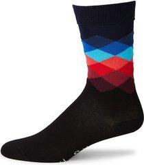 happy socks men's faded diamond-print crew socks - black blue - size 9-11
