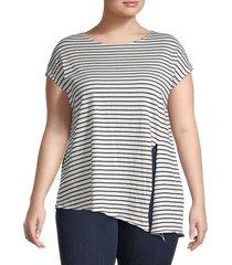max studio women's plus striped cotton-blend top - ivory combo - size 1x (14-16)