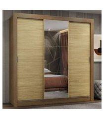 guarda-roupa casal madesa lyon plus 3 portas de correr com espelho 4 gavetas - rustic/carvalho marrom