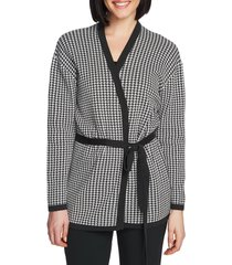 women's chaus houndstooth belted cotton cardigan