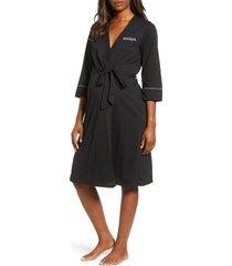 women's belabumbum mama embroidered maternity/nursing robe, size large/x-large - black