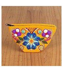 alpaca blend coin purse, 'bouquet shopper' (peru)