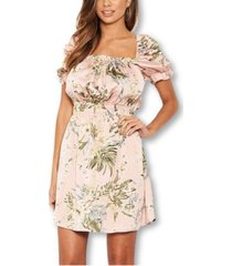 ax paris tropical print puff sleeve dress