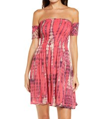 women's tiare hawaii smocked off the shoulder cover-up minidress, size one size - pink