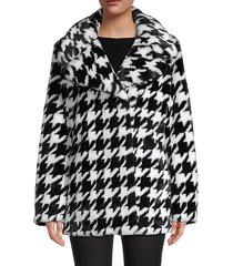 houndstooth-print wide peak lapel faux fur coat