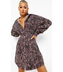 tall getailleerde corduroy zebraprint blouse jurk, pink