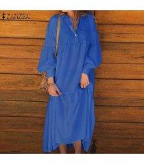 zanzea mujeres encuadre de cuerpo entero vestido de la camisa de manga larga en capas kaftan maxi largo casual -azul marino