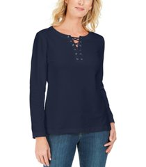 karen scott lace-up french terry sweatshirt, created for macy's