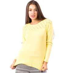 blusa tricot carlan geometric decote redondo amarelo