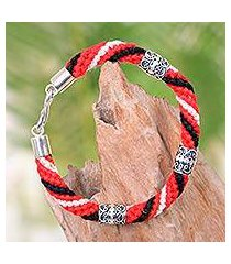silver accent cotton braided bracelet, 'red tridatu' (indonesia)