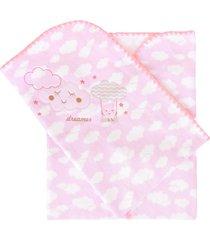 cobertor minasrey bordado com caixa alvinha rosa - kanui
