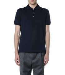salvatore ferragamo navy blue cotton logo polo shirt
