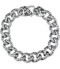 men's textured link bracelet in stainless steel & black titanium plate
