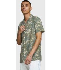 camisa jack & jones jprdale resort shirt s/s pre verde - calce regular