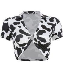 camiseta de terciopelo con cuello hueco para mujer