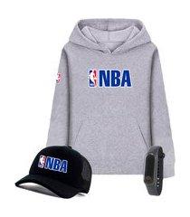 moletom canguru cinza e boné liga de basquete nba preto com relógio