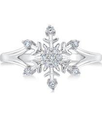 1/4ctw diamond 925 silver disney frozen snowflake engagement fashion gift ring