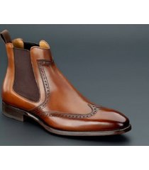 handmade men brown wing tip brogue chelsea boot, men brown ankle dress boot
