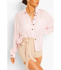 oversized linen look shirt, pink