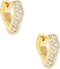 kendra scott 14k gold-plated pave spiked huggie hoop earrings