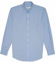 camisa casual manga larga estampada slim fit para hombre 93031