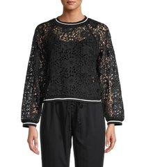 lucca couture women's floral lace sweatshirt - black - size xs