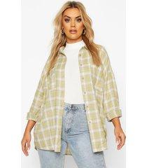 plus geruite oversized boyfriend blouse, salie