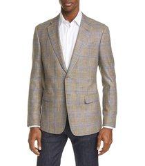 men's giorgio armani trim fit plaid wool & silk blend sport coat, size 38 us / 48 eu r - brown
