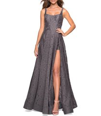 women's la femme front slit beaded lace gown