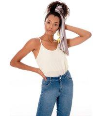 regata sisal jeans candy color lima - amarelo - feminino - liocel - dafiti