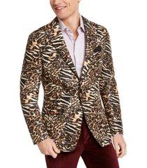 tallia orange men's slim-fit black/gold leopard-print dinner jacket