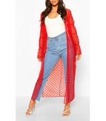 dobby mesh shirred sleeve maxi kimono, red