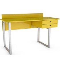 kolorowe biurko z bocznymi szufladami i przegrodą