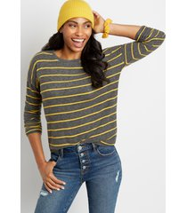 maurices womens gold stripe straight hem pullover