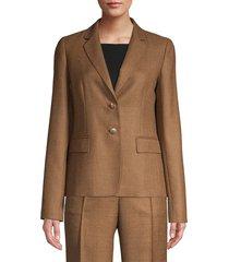 lafayette 148 new york women's thatcher textured wool & silk blazer - molasses melange - size 12
