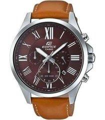 reloj casio efv_500l_5avu marrón cuero