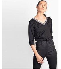 camiseta para mujer en crepé negro color-negro-talla-xs
