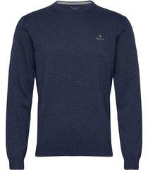 classic cotton c-neck stickad tröja m. rund krage blå gant