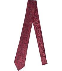 gravata alfaiataria burguesia jacquard 1260 fios vermelho - kanui