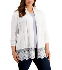 belldini plus size lace-hem cardigan