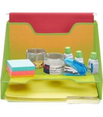 mind reader 3 section desk file organizer, document letter tray for folders, mail, documents