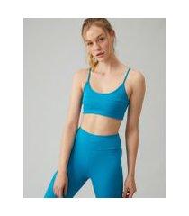 amaro feminino top fitness biodegradável v costas, azul médio