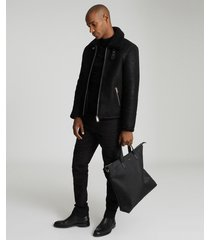 reiss kyelder - shearling aviator jacket in black, mens, size xxl