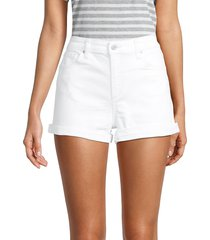 joe's jeans women's mid-rise folded cuff denim shorts - white - size 29 (6-8)