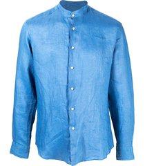 peninsula swimwear crinkled effect curved hem shirt - blue