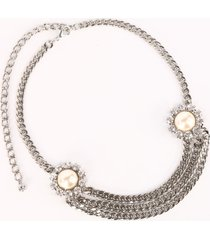alessandra rich crystal chain belt with pearl and crystal elements