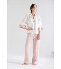 pijama plargo viscosa rosa camisa m3/4 miniprint 1585012l estampado 100%viscosa  options intimate